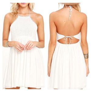 LULU'S Set for Sunshine Ivory Crocheted Dress